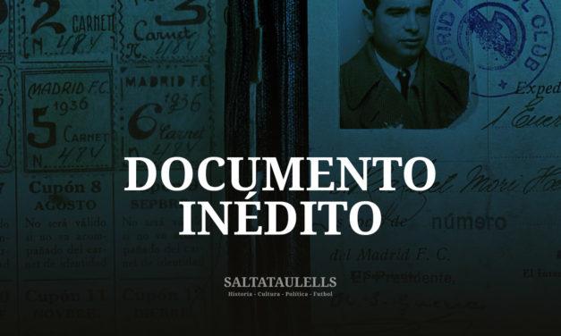 DOCUMENTO INEDITO. CARNET DEL SOCIO 484 DEL MADRID C. F. JULIO 1936.