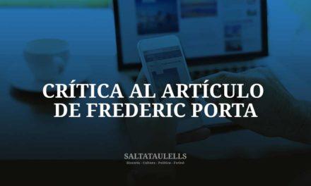 """CRITICA AL ARTICULO DEL """"SALTATAULELLS"""", FREDERIC PORTA, SOBRE  FRANCESC XAVIER CASALS, PRESIDENTE DEL F. C. BARCELONA DURANTE LA GUERRA CIVIL."""
